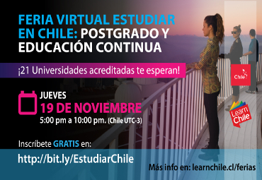 "Learn Chile realizará Feria Virtual ""Estudiar en Chile: Postgrado y Educación Continua"""