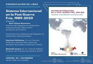 """PUCV efectuará lanzamiento del libro """"Sistema Internacional en la Post Guerra Fría 1989 -2020"""""""